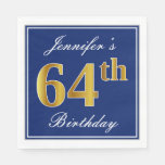 [ Thumbnail: Elegant Blue, Faux Gold 64th Birthday; Custom Name Napkin ]