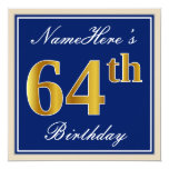 [ Thumbnail: Elegant, Blue, Faux Gold 64th Birthday + Name Invitation ]