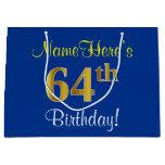 [ Thumbnail: Elegant, Blue, Faux Gold 64th Birthday + Name Gift Bag ]