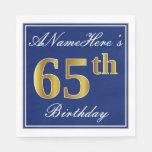 [ Thumbnail: Elegant Blue, Faux Gold 65th Birthday; Custom Name Paper Napkin ]