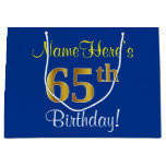 [ Thumbnail: Elegant, Blue, Faux Gold 65th Birthday + Name Gift Bag ]