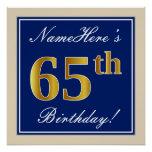 [ Thumbnail: Elegant, Blue, Faux Gold 65th Birthday + Name Poster ]