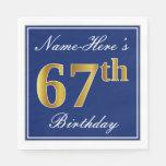 [ Thumbnail: Elegant Blue, Faux Gold 67th Birthday; Custom Name Napkin ]