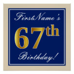 [ Thumbnail: Elegant, Blue, Faux Gold 67th Birthday + Name Poster ]