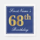 [ Thumbnail: Elegant Blue, Faux Gold 68th Birthday; Custom Name Paper Napkin ]