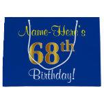 [ Thumbnail: Elegant, Blue, Faux Gold 68th Birthday + Name Gift Bag ]