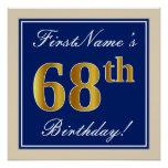 [ Thumbnail: Elegant, Blue, Faux Gold 68th Birthday + Name Poster ]