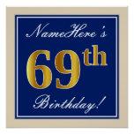 [ Thumbnail: Elegant, Blue, Faux Gold 69th Birthday + Name Poster ]