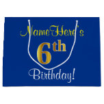 [ Thumbnail: Elegant, Blue, Faux Gold 6th Birthday; Custom Name Gift Bag ]