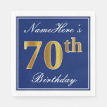 [ Thumbnail: Elegant Blue, Faux Gold 70th Birthday; Custom Name Napkin ]