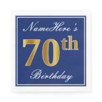 Elegant Blue, Faux Gold 70th Birthday; Custom Name Napkin