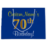 [ Thumbnail: Elegant, Blue, Faux Gold 70th Birthday + Name Gift Bag ]