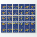 [ Thumbnail: Elegant, Blue, Faux Gold 70th Birthday + Name Wrapping Paper ]
