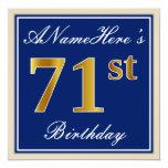 [ Thumbnail: Elegant, Blue, Faux Gold 71st Birthday + Name Invitation ]
