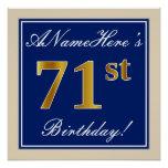 [ Thumbnail: Elegant, Blue, Faux Gold 71st Birthday + Name Poster ]