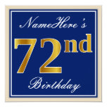 [ Thumbnail: Elegant, Blue, Faux Gold 72nd Birthday + Name Invitation ]