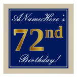 [ Thumbnail: Elegant, Blue, Faux Gold 72nd Birthday + Name Poster ]