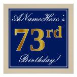 [ Thumbnail: Elegant, Blue, Faux Gold 73rd Birthday + Name Poster ]