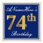 [ Thumbnail: Elegant, Blue, Faux Gold 74th Birthday + Name Invitation ]