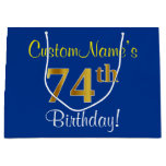 [ Thumbnail: Elegant, Blue, Faux Gold 74th Birthday + Name Gift Bag ]