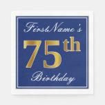 [ Thumbnail: Elegant Blue, Faux Gold 75th Birthday; Custom Name Napkin ]