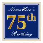 [ Thumbnail: Elegant, Blue, Faux Gold 75th Birthday + Name Invitation ]