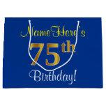 [ Thumbnail: Elegant, Blue, Faux Gold 75th Birthday + Name Gift Bag ]