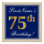 [ Thumbnail: Elegant, Blue, Faux Gold 75th Birthday + Name Poster ]