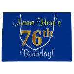 [ Thumbnail: Elegant, Blue, Faux Gold 76th Birthday + Name Gift Bag ]