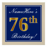 [ Thumbnail: Elegant, Blue, Faux Gold 76th Birthday + Name Poster ]