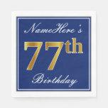 [ Thumbnail: Elegant Blue, Faux Gold 77th Birthday; Custom Name Napkin ]