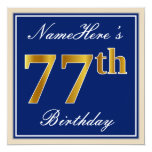 [ Thumbnail: Elegant, Blue, Faux Gold 77th Birthday + Name Invitation ]