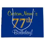 [ Thumbnail: Elegant, Blue, Faux Gold 77th Birthday + Name Gift Bag ]