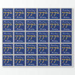 [ Thumbnail: Elegant, Blue, Faux Gold 77th Birthday + Name Wrapping Paper ]