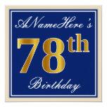 [ Thumbnail: Elegant, Blue, Faux Gold 78th Birthday + Name Invitation ]