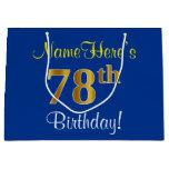 [ Thumbnail: Elegant, Blue, Faux Gold 78th Birthday + Name Gift Bag ]