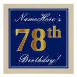 [ Thumbnail: Elegant, Blue, Faux Gold 78th Birthday + Name Poster ]