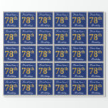[ Thumbnail: Elegant, Blue, Faux Gold 78th Birthday + Name Wrapping Paper ]