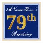 [ Thumbnail: Elegant, Blue, Faux Gold 79th Birthday + Name Invitation ]