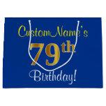 [ Thumbnail: Elegant, Blue, Faux Gold 79th Birthday + Name Gift Bag ]