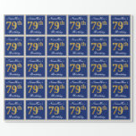 [ Thumbnail: Elegant, Blue, Faux Gold 79th Birthday + Name Wrapping Paper ]