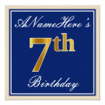 [ Thumbnail: Elegant, Blue, Faux Gold 7th Birthday; Custom Name Invitation ]