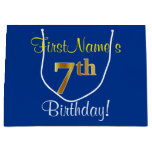 [ Thumbnail: Elegant, Blue, Faux Gold 7th Birthday; Custom Name Gift Bag ]
