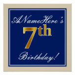 [ Thumbnail: Elegant, Blue, Faux Gold 7th Birthday; Custom Name Poster ]
