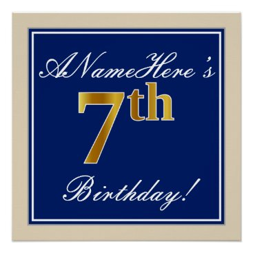 Art Themed Elegant, Blue, Faux Gold 7th Birthday; Custom Name Poster