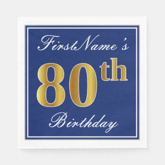 Elegant Blue, Faux Gold 80th Birthday; Custom Name Napkin