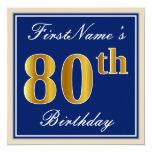 [ Thumbnail: Elegant, Blue, Faux Gold 80th Birthday + Name Invitation ]
