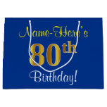 [ Thumbnail: Elegant, Blue, Faux Gold 80th Birthday + Name Gift Bag ]