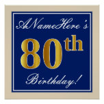 [ Thumbnail: Elegant, Blue, Faux Gold 80th Birthday + Name Poster ]