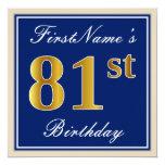 [ Thumbnail: Elegant, Blue, Faux Gold 81st Birthday + Name Invitation ]